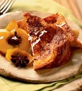 Sugar-crusted French toast with honeyed apples