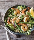 Summer bean salad with shrimp, mint and chive oil