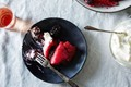 Summer berry pudding with rose cream