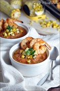 Summer gazpacho with grilled shrimp