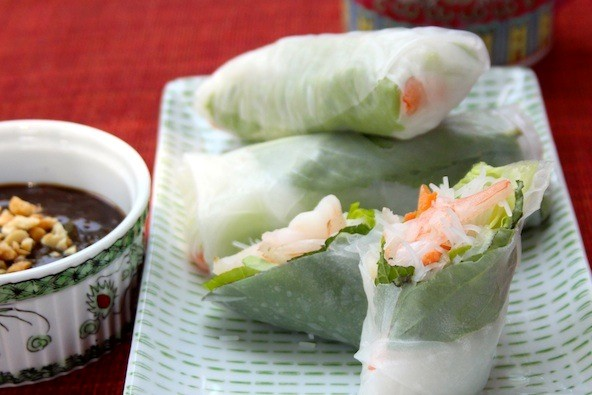 summer melon with basil mint granita shrimp and mint summer rolls