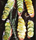 Summer squash tartines with rosemary and lemon