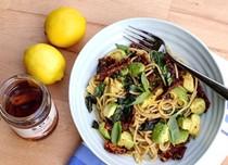 Sun-dried tomato and avocado spaghetti