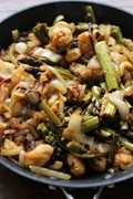 Sweet potato gnocchi with balsamic-roasted asparagus and caramelized onions