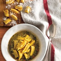 Swiss chard soup with chicken and sausage plin (Plin di pollo e salsiccia in zuppa di bietole)