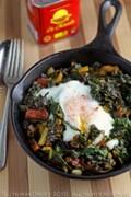 Swiss chard with chorizo and eggs