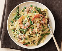Tagliatelle with shrimp, asparagus, and coconut milk