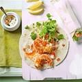Tempura prawn wraps with minted mango yogurt