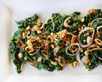 Tender greens salad with crispy fried shallots