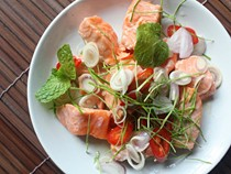 Thai herbal salmon salad (Phla pla salmon)