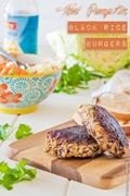 Thai pumpkin black rice burgers