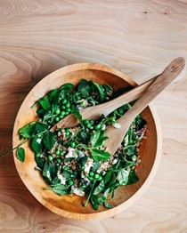 Toasted farro salad with fresh peas, pea shoots, and herbs