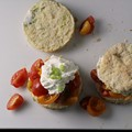 Tomato scallion shortcakes with whipped goat cheese