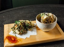 Truffle iron pot rice with Japanese mountain vegetable kakiage (Truffle sansai kamameshi)