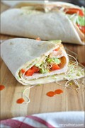 Turkey and Swiss cheese wrap with spicy mayo