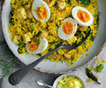 Vegeree with soft eggs and smoked salt baked celeriac