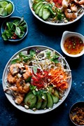 Vietnamese BBQ shrimp noodle (Bun tom heo nuong)