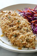 Waffle crusted chicken with spicy maple sauce