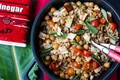 Warm barley, chickpea, and tomato salad with grilled chicken