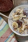 Warm red quinoa breakfast bowl