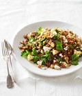 Warm roast cauliflower, chickpea and quinoa salad