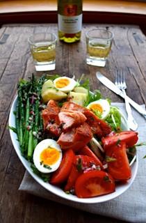 Warm salmon salad Nicoise