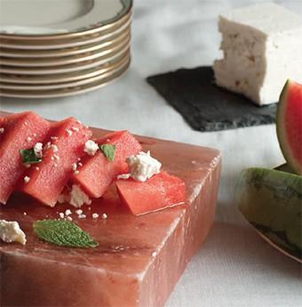 Watermelon & feta salad on salt block