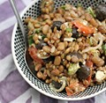 Wheat berry and roasted pepper salad with a smoked paprika dressing