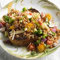 Wheat berry gazpacho salad