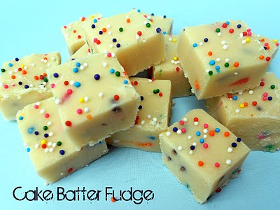 White chocolate cake batter fudge