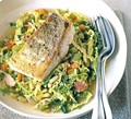 White fish with cabbage & beans
