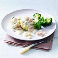 White fishcakes with prawn, egg and dill sauce