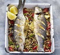 Whole stuffed roast fish with fennel