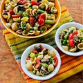Whole wheat orecchiette pasta salad with roasted asparagus, red bell pepper, and mushrooms