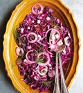 Wilted red cabbage with mint and goat feta